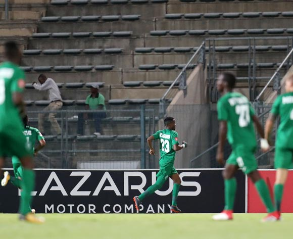 Ovidy Karuru of AmaZulu celebrates goal during the Absa Premiership 2017/18 match between Supersport United and AmaZulu at Lucas Moripe Stadium, Atteridgeville South Africa on 31 January 2018 ©Muzi Ntombela/BackpagePix