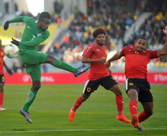 Chukwudiebube Emeka Ogbugh of Nigeria is challenged by Wilson Pinto Gaspar of Angola during the ACHAN Quarterfinal match between Nigeria and Angola on 28 January 2018 at  Grand Stade de Tanger, Tanger,  Morocco Pic Sydney Mahlangu/BackpagePix