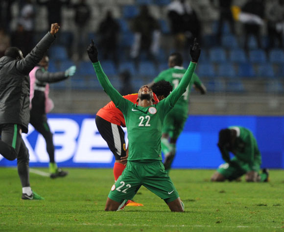 Okechukwu Gabriel of Nigeria celebrates his winner after the final whistle during the CHAN Quarterfinal match between Nigeria and Angola on 28 January 2018 at  Grand Stade de Tanger, Tanger,  Morocco Pic Sydney Mahlangu/BackpagePix