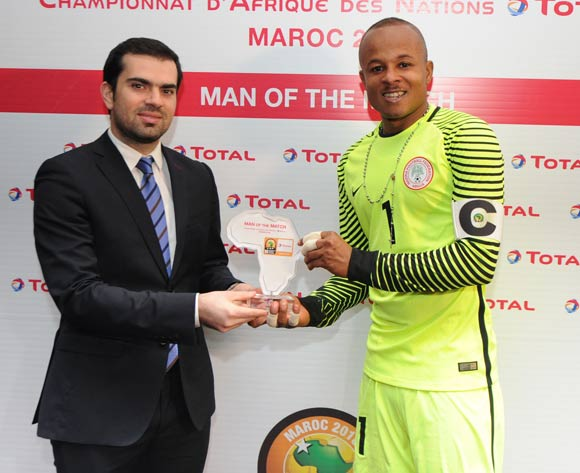 Ikechukwu Vincent Ezenwa of Nigeria awarded TOTAL Man of the match during the CHAN Quarterfinal match between Nigeria and Angola on 28 January 2018 at  Grand Stade de Tanger, Tanger,  Morocco Pic Sydney Mahlangu/BackpagePix