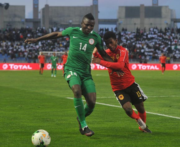 Timothy Danladi of Nigeria is challenged by Vladimir Etson Va of Angola during the CHAN Quarterfinal match between Nigeria and Angola on 28 January 2018 at  Grand Stade de Tanger, Tanger,  Morocco Pic Sydney Mahlangu/BackpagePix