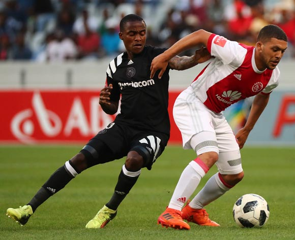Grant Margeman of Ajax Cape Town gets away from Thembinkosi Lorch of Orlando Pirates during the Absa Premiership 2017/18 football match between Ajax Cape Town and Orlando Pirates at Cape Town Stadium, Cape Town on 31 January 2018 ©Chris Ricco/BackpagePix