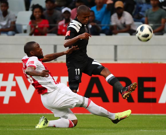 Luvuyo Memela of Orlando Pirates tackled by Siyanda Zwane of Ajax Cape Town during the Absa Premiership 2017/18 football match between Ajax Cape Town and Orlando Pirates at Cape Town Stadium, Cape Town on 31 January 2018 ©Chris Ricco/BackpagePix