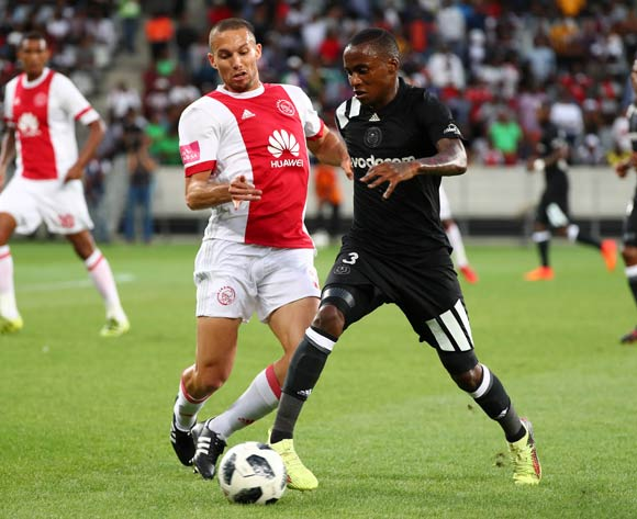 Thembinkosi Lorch of Orlando Pirates challenged by Roscoe Pietersen of Ajax Cape Town during the Absa Premiership 2017/18 football match between Ajax Cape Town and Orlando Pirates at Cape Town Stadium, Cape Town on 31 January 2018 ©Chris Ricco/BackpagePix