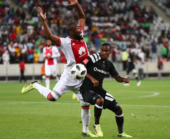 Thembinkosi Lorch of Orlando Pirates challenged by Siyanda Zwane of Ajax Cape Town during the Absa Premiership 2017/18 football match between Ajax Cape Town and Orlando Pirates at Cape Town Stadium, Cape Town on 31 January 2018 ©Chris Ricco/BackpagePix