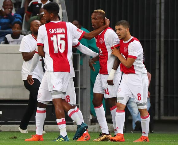 Yannick Zakri of Ajax Cape Town celebrates goal with teammates during the Absa Premiership 2017/18 football match between Ajax Cape Town and Orlando Pirates at Cape Town Stadium, Cape Town on 31 January 2018 ©Chris Ricco/BackpagePix