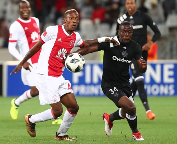 Yannick Zakri of Ajax Cape Town challenged by Ntsikelelo Nyauza of Orlando Pirates during the Absa Premiership 2017/18 football match between Ajax Cape Town and Orlando Pirates at Cape Town Stadium, Cape Town on 31 January 2018 ©Chris Ricco/BackpagePix