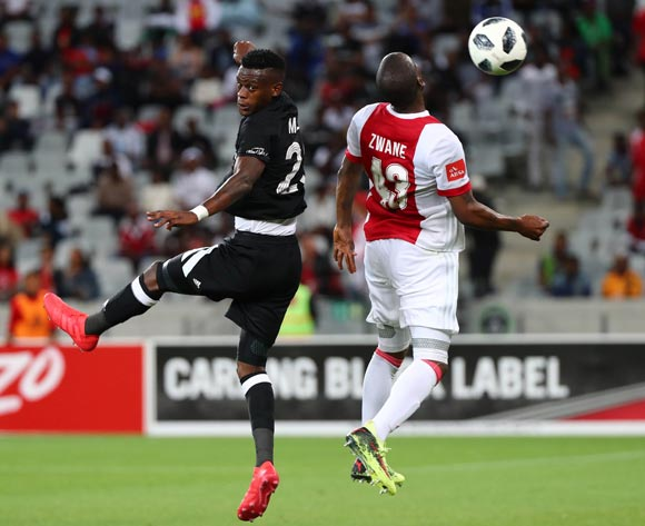 Innocent Maela of Orlando Pirates battles for the ball with Siyanda Zwane of Ajax Cape Town during the Absa Premiership 2017/18 football match between Ajax Cape Town and Orlando Pirates at Cape Town Stadium, Cape Town on 31 January 2018 ©Chris Ricco/BackpagePix
