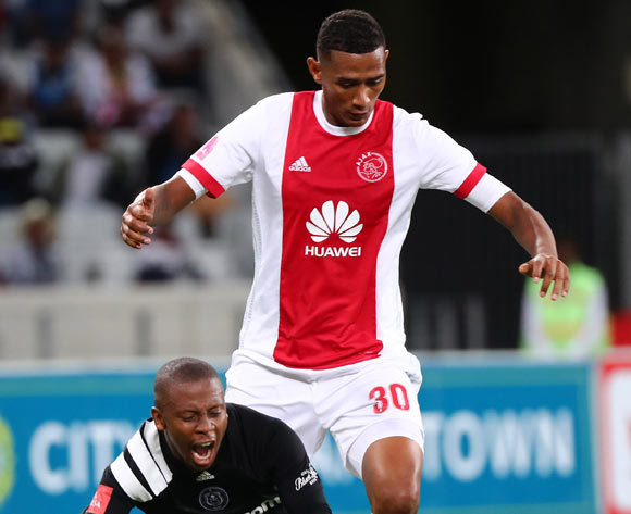 Thabiso Kutumela of Orlando Pirates goes down under challenge from Mario Booysen of Ajax Cape Town during the Absa Premiership 2017/18 football match between Ajax Cape Town and Orlando Pirates at Cape Town Stadium, Cape Town on 31 January 2018 ©Chris Ricco/BackpagePix