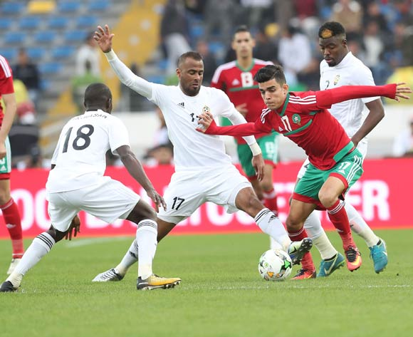 Achraf Bencharki of Morocco challenged by Ramadhan Khalleefah Abdulrhman of Libya during the 2018 Chan semifinal football match between Morocco and Libya at Stade Mohammed in Casablanca, Morocco on 31 January 2018 ©Gavin Barker/BackpagePix