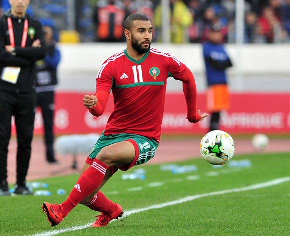 Ismail El Haddad of Morocco keeps the ball in play during the 2018 Chan semifinal game between Morocco and Libya at Stade Mohamed in Casablanca, Morocco on 31 January 2018 © Ryan Wilkisky/BackpagePix