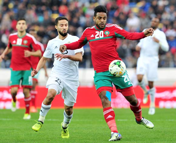 Abdeljalil Jbira of Morocco is challenged by Omar Aribi Hammad of Libya during the 2018 Chan semifinal game between Morocco and Libya at Stade Mohamed in Casablanca, Morocco on 31 January 2018 © Ryan Wilkisky/BackpagePix