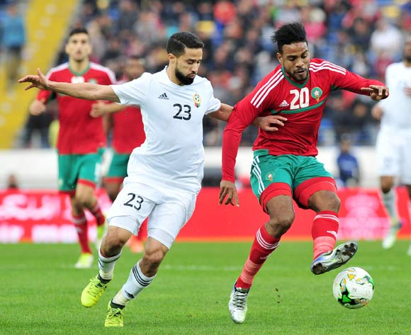 Abdeljalil Jbira of Morocco  turns away from Omar Aribi Hammad of Libya during the 2018 Chan semifinal game between Morocco and Libya at Stade Mohamed in Casablanca, Morocco on 31 January 2018 © Ryan Wilkisky/BackpagePix