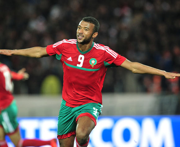 Ayoub El Kaabi of Morocco celebrates his goal during the 2018 Chan semifinal game between Morocco and Libya at Stade Mohamed V in Casablanca, Morocco on 31 January 2018 © Ryan Wilkisky/BackpagePix