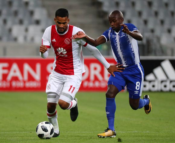Tashreeq Morris of Ajax Cape Town evades challenge from Siphesihle Ndlovu of Maritzburg United during the Absa Premiership 2017/18 football match between Ajax Cape Town and Maritzburg United at Cape Town Stadium, Cape Town on 5 January 2017 ©Chris Ricco/BackpagePix