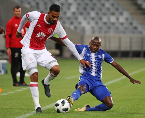 Tashreeq Morris of Ajax Cape Town tackled by Siphesihle Ndlovu of Maritzburg United during the Absa Premiership 2017/18 football match between Ajax Cape Town and Maritzburg United at Cape Town Stadium, Cape Town on 5 January 2017 ©Chris Ricco/BackpagePix