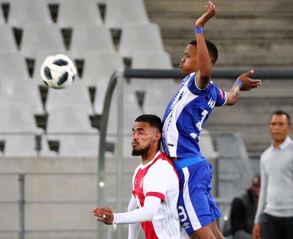 Tashreeq Morris of Ajax Cape Town challenged by Pogiso Sanoka of Maritzburg United during the Absa Premiership 2017/18 football match between Ajax Cape Town and Maritzburg United at Cape Town Stadium, Cape Town on 5 January 2017 ©Chris Ricco/BackpagePix