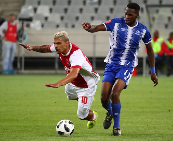 Toriq Losper of Ajax Cape Town fouled by Fortune Makaringe of Maritzburg United during the Absa Premiership 2017/18 football match between Ajax Cape Town and Maritzburg United at Cape Town Stadium, Cape Town on 5 January 2017 ©Chris Ricco/BackpagePix