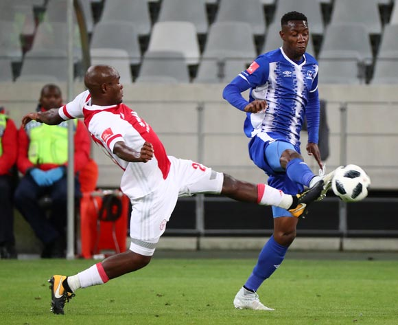Evans Rusike of Maritzburg United challenged by Tercious Malepe of Ajax Cape Town during the Absa Premiership 2017/18 football match between Ajax Cape Town and Maritzburg United at Cape Town Stadium, Cape Town on 5 January 2017 ©Chris Ricco/BackpagePix