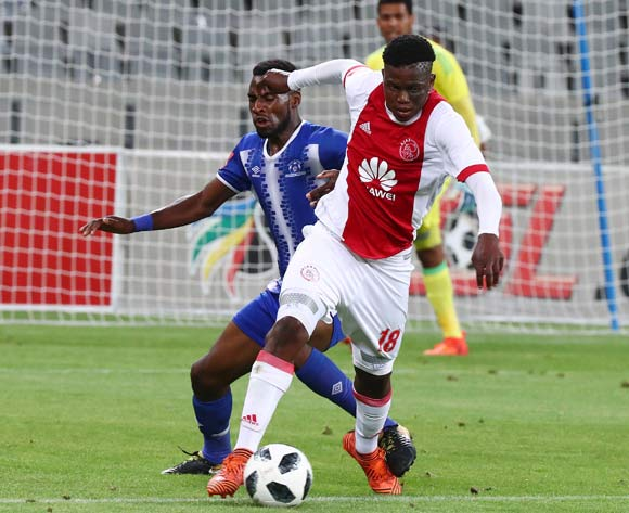 Ndiviwe Mdabuka of Ajax Cape Town challenged by Fortune Makaringe of Maritzburg United during the Absa Premiership 2017/18 football match between Ajax Cape Town and Maritzburg United at Cape Town Stadium, Cape Town on 5 January 2017 ©Chris Ricco/BackpagePix