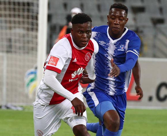 Ndiviwe Mdabuka of Ajax Cape Town evades challenge from Evans Rusike of Maritzburg United during the Absa Premiership 2017/18 football match between Ajax Cape Town and Maritzburg United at Cape Town Stadium, Cape Town on 5 January 2017 ©Chris Ricco/BackpagePix