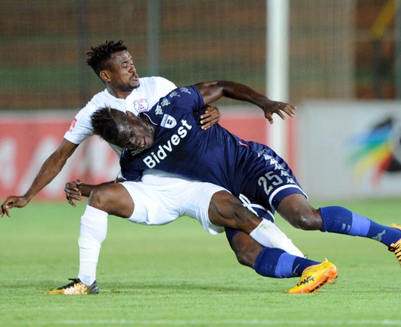 Edwin Gyimah of Bidvest Wits is challenged by Harris Tchilimbou of Free State Stars during the Absa Premiership match between Bidvest Wits and Free State Stars on 05 January 2018 at Bidvest Stadium Pic Sydney Mahlangu/BackpagePix