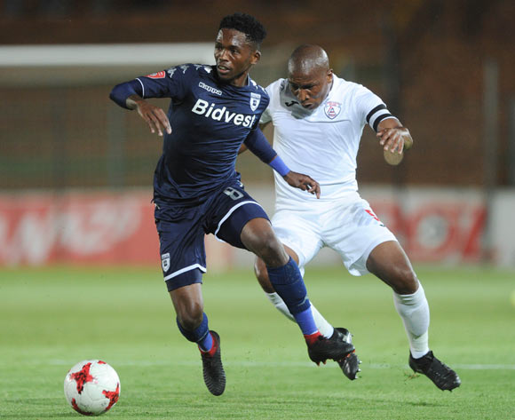 Thabang Monare of Bidvest Wits is challenged by Paulus Masehe of Free State Stars during the Absa Premiership match between Bidvest Wits and Free State Stars on 05 January 2018 at Bidvest Stadium Pic Sydney Mahlangu/BackpagePix