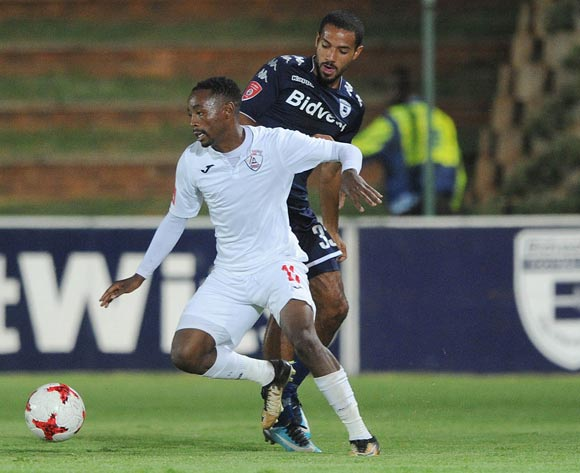 Sinethemba Jantjie of Free State Stars is challenged by Reeve Frosler of Bidvest Wits during the Absa Premiership match between Bidvest Wits and Free State Stars on 05 January 2018 at Bidvest Stadium Pic Sydney Mahlangu/BackpagePix