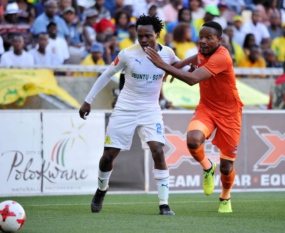 Thabiso Semenya of Polokwane City challenges Percy Tau of Mamelodi Sundowns during Absa Premiership2017/18 game between Polokwane City and Mamelodi Sundowns at Peter Mokaba Stadium in Polokwane on 06 January 2018 ©Aubrey Kgakatsi/BackpagePix