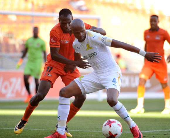 Rodney Ramagalela of Polokwane City challenges Tebogo Langerman of Mamelodi Sundowns during Absa Premiership2017/18 game between Polokwane City and Mamelodi Sundowns at Peter Mokaba Stadium in Polokwane on 06 January 2018 ©Aubrey Kgakatsi/BackpagePix