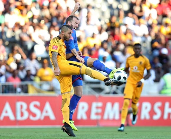 Daniel Cardoso of Kaizer Chiefs challenged by Jeremy Brockie of Supersport United during the Absa Premiership 2017/18 match between Supersport United and Kaizer Chiefs at Mbombela Stadium, Mpumalanga South Africa on 06 January 2018 ©Muzi Ntombela/BackpagePix