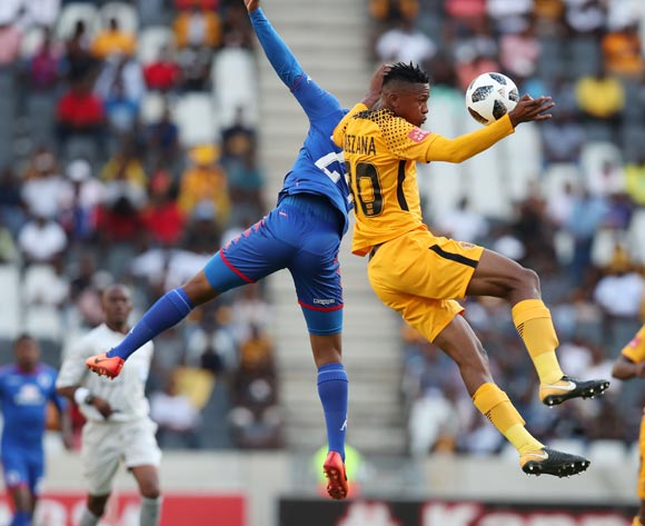 Siyabonga Ngezana of Kaizer Chiefs challenged by Sipho Mbule of Supersport United during the Absa Premiership 2017/18 match between Supersport United and Kaizer Chiefs at Mbombela Stadium, Mpumalanga South Africa on 06 January 2018 ©Muzi Ntombela/BackpagePix
