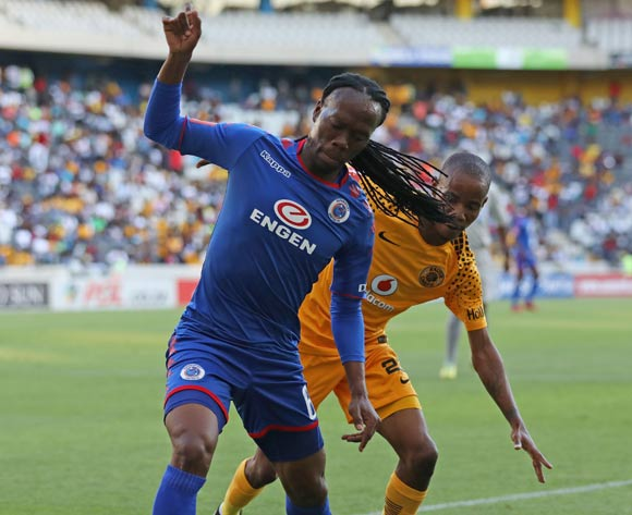 Reneilwe Letsholonyane of Supersport United challenged by Joseph Molangoane of Kaizer Chiefs during the Absa Premiership 2017/18 match between Supersport United and Kaizer Chiefs at Mbombela Stadium, Mpumalanga South Africa on 06 January 2018 ©Muzi Ntombela/BackpagePix