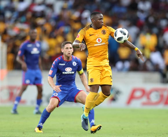 George Maluleka of Kaizer Chiefs challenged by Dean Furman of Supersport United during the Absa Premiership 2017/18 match between Supersport United and Kaizer Chiefs at Mbombela Stadium, Mpumalanga South Africa on 06 January 2018 ©Muzi Ntombela/BackpagePix