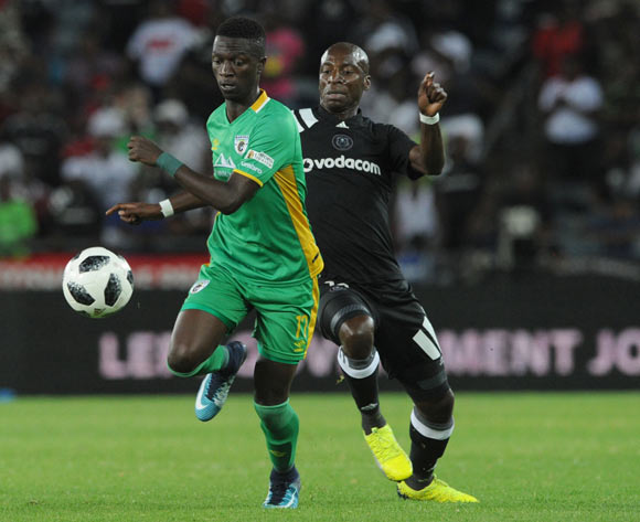 Musa Nyatama of Orlando Pirates is challenged by Robin Ngalane of Baroka FC during the Absa Premiership match between Orlando Pirates and Baroka FC on 06 January 2018 at Orlando Stadium Pic Sydney Mahlangu/BackpagePix