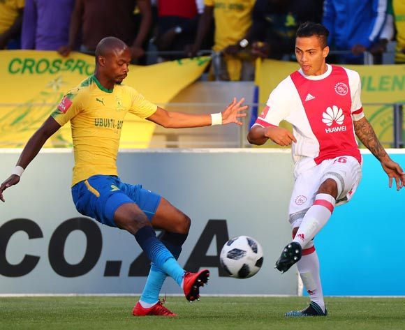 Sirgio Kammies of Ajax Cape Town battles for the ball with Tebogo Langerman of Mamelodi Sundowns during the Absa Premiership 2017/18 football match between Ajax Cape Town and Mamelodi Sundowns at Cape Town Stadium, Cape Town on 9 January 2018 ©Chris Ricco/BackpagePix
