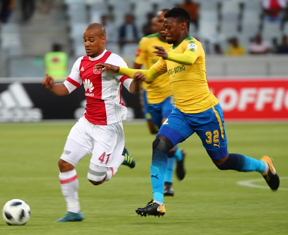 Fagrie Lakay of Ajax Cape Town gets away from Motjeka Madisha of Mamelodi Sundowns during the Absa Premiership 2017/18 football match between Ajax Cape Town and Mamelodi Sundowns at Cape Town Stadium, Cape Town on 9 January 2018 ©Chris Ricco/BackpagePix