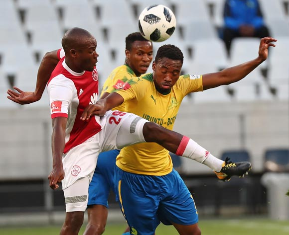 Tercious Malepe of Ajax Cape Town battles for the ball with Sibusiso Vilakazi of Mamelodi Sundowns during the Absa Premiership 2017/18 football match between Ajax Cape Town and Mamelodi Sundowns at Cape Town Stadium, Cape Town on 9 January 2018 ©Chris Ricco/BackpagePix