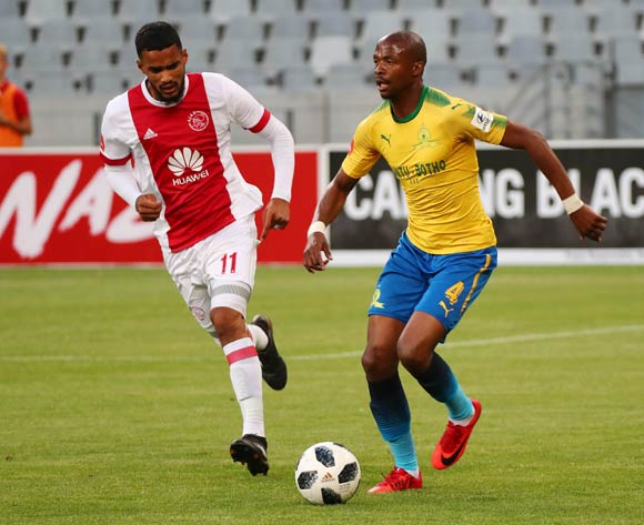 Tebogo Langerman of Mamelodi Sundowns evades challenge from Tashreeq Morris of Ajax Cape Town during the Absa Premiership 2017/18 football match between Ajax Cape Town and Mamelodi Sundowns at Cape Town Stadium, Cape Town on 9 January 2018 ©Chris Ricco/BackpagePix