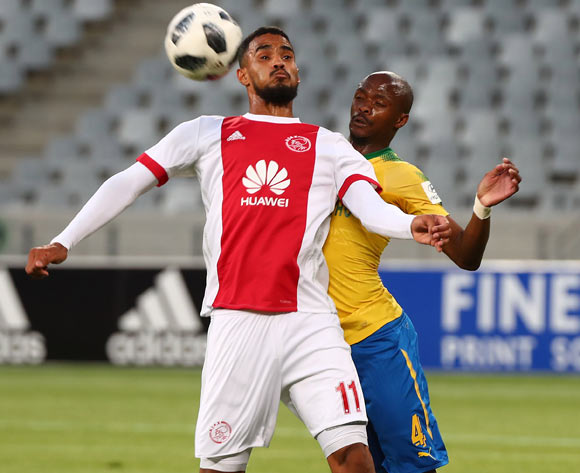 Tashreeq Morris of Ajax Cape Town battles for the ball with Tebogo Langerman of Mamelodi Sundowns during the Absa Premiership 2017/18 football match between Ajax Cape Town and Mamelodi Sundowns at Cape Town Stadium, Cape Town on 9 January 2018 ©Chris Ricco/BackpagePix
