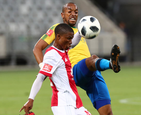 Samuel Mabunda of Mamelodi Sundowns battles for the ball with Samuel Julies of Ajax Cape Town during the Absa Premiership 2017/18 football match between Ajax Cape Town and Mamelodi Sundowns at Cape Town Stadium, Cape Town on 9 January 2018 ©Chris Ricco/BackpagePix