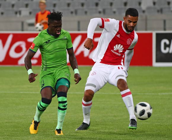 Tashreeq Morris of Ajax Cape Town evades challenge from Siyabonga Zulu of Platinum Stars during the Absa Premiership 2017/18 football match between Ajax Cape Town and Platinum Stars at Cape Town Stadium, Cape Town on 12 January 2018 ©Chris Ricco/BackpagePix