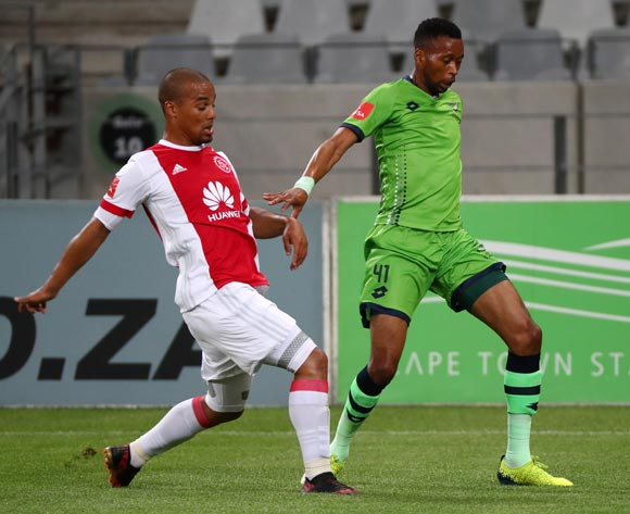 Molemo Mekoa of Platinum Stars challenged by Fagrie Lakay of Ajax Cape Town during the Absa Premiership 2017/18 football match between Ajax Cape Town and Platinum Stars at Cape Town Stadium, Cape Town on 12 January 2018 ©Chris Ricco/BackpagePix