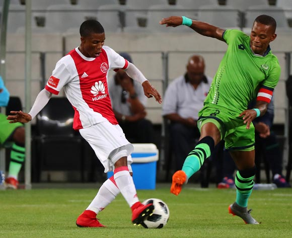 Samuel Julies of Ajax Cape Town challenged by Vuyo Mere of Platinum Stars during the Absa Premiership 2017/18 football match between Ajax Cape Town and Platinum Stars at Cape Town Stadium, Cape Town on 12 January 2018 ©Chris Ricco/BackpagePix