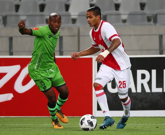 Sirgio Kammies of Ajax Cape Town evades challenge from Sibusiso Msomi of Platinum Stars during the Absa Premiership 2017/18 football match between Ajax Cape Town and Platinum Stars at Cape Town Stadium, Cape Town on 12 January 2018 ©Chris Ricco/BackpagePix