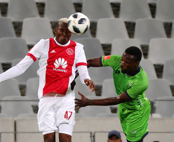 Tendai Ndoro of Ajax Cape Town challenged by Willem Mwedihanga of Platinum Stars during the Absa Premiership 2017/18 football match between Ajax Cape Town and Platinum Stars at Cape Town Stadium, Cape Town on 12 January 2018 ©Chris Ricco/BackpagePix