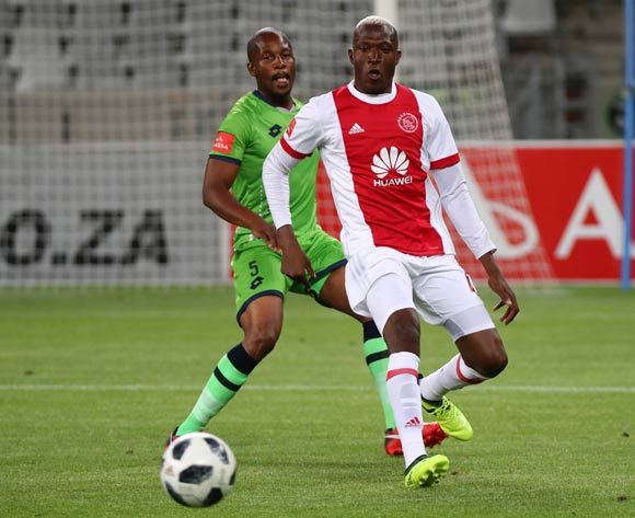 Tendai Ndoro of Ajax Cape Town evades challenge from Gift Sithole of Platinum Stars during the Absa Premiership 2017/18 football match between Ajax Cape Town and Platinum Stars at Cape Town Stadium, Cape Town on 12 January 2018 ©Chris Ricco/BackpagePix