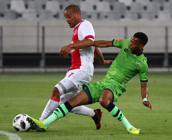Fagrie Lakay of Ajax Cape Town tackled by Molemo Mekoa of Platinum Stars during the Absa Premiership 2017/18 football match between Ajax Cape Town and Platinum Stars at Cape Town Stadium, Cape Town on 12 January 2018 ©Chris Ricco/BackpagePix
