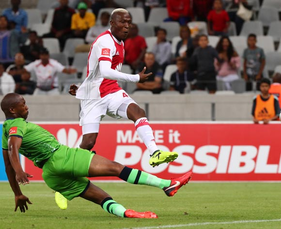 Tendai Ndoro of Ajax Cape Town evades challenge from Gift Sithole of Platinum Stars scores goal during the Absa Premiership 2017/18 football match between Ajax Cape Town and Platinum Stars at Cape Town Stadium, Cape Town on 12 January 2018 ©Chris Ricco/BackpagePix