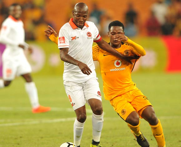 Wiseman Meyiwa of Kaizer Chiefs challenges Jabulani Maluleke of Polokwane City during Absa Premiership 2017/18 game between Kaizer Chuefs and Polokwane City at FNB Stadium in Johannesburg South Africa on 13 January 2018 ©Aubrey Kgakatsi/BackpagePix